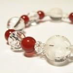 四神獣の水晶カット赤メノウブレスレット
