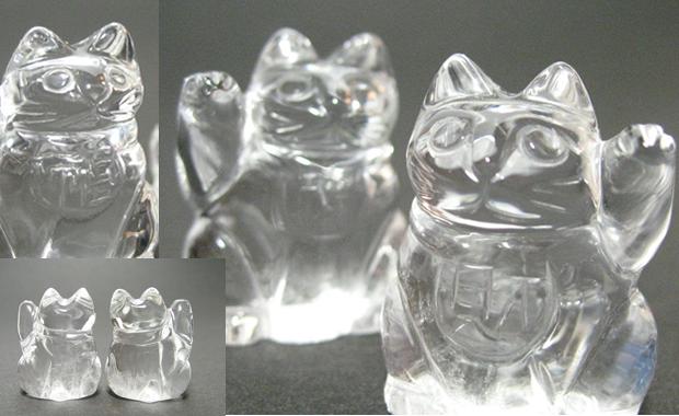 水晶の縁起物招き猫を通信販売