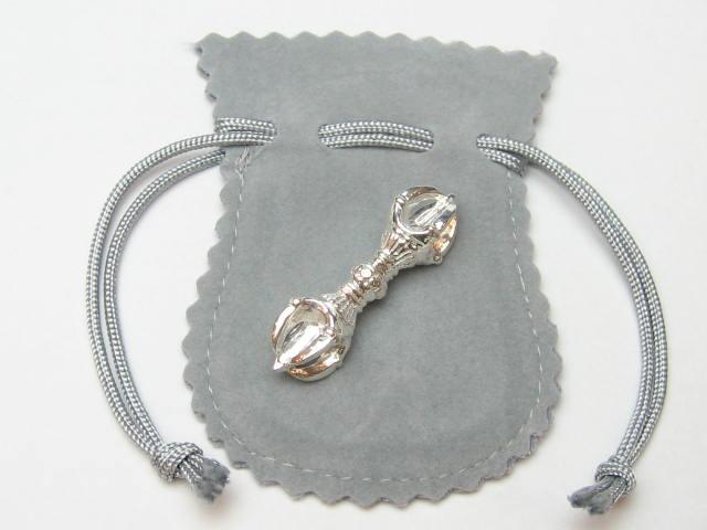 密教法具の銀のお守り五鈷杵 袋付き