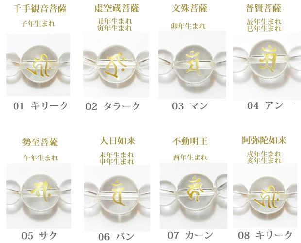生まれ年の干支梵字・十二支守り本尊 水晶