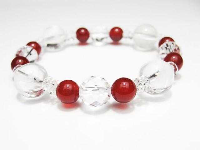 四神獣水晶カット赤メノウのパワーストーンブレスレット | 恋愛結婚にパワーストーンの赤メノウ「愛と行動力のの石」と 天の四方を守る四神とでパワーストーンブレスレット