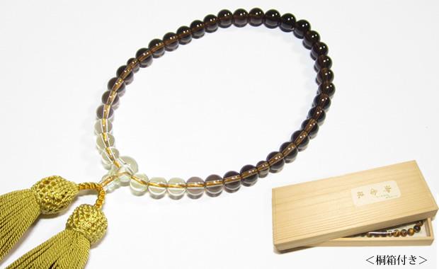 数珠・葬式や法事に茶水晶グラデーション数珠