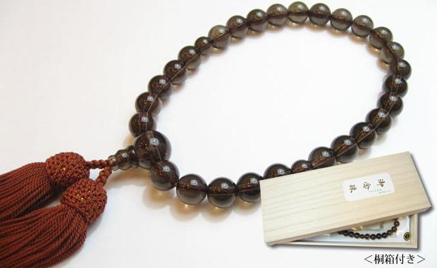数珠男性用 茶水晶の数珠
