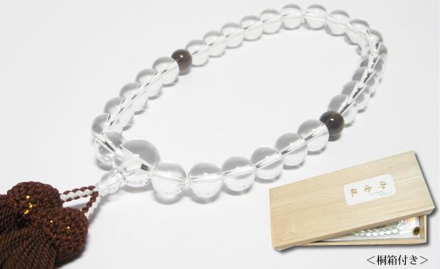 最高級天然水晶12mm数珠・男性用の水晶数珠