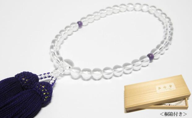 数珠・女性用の天然水晶数珠