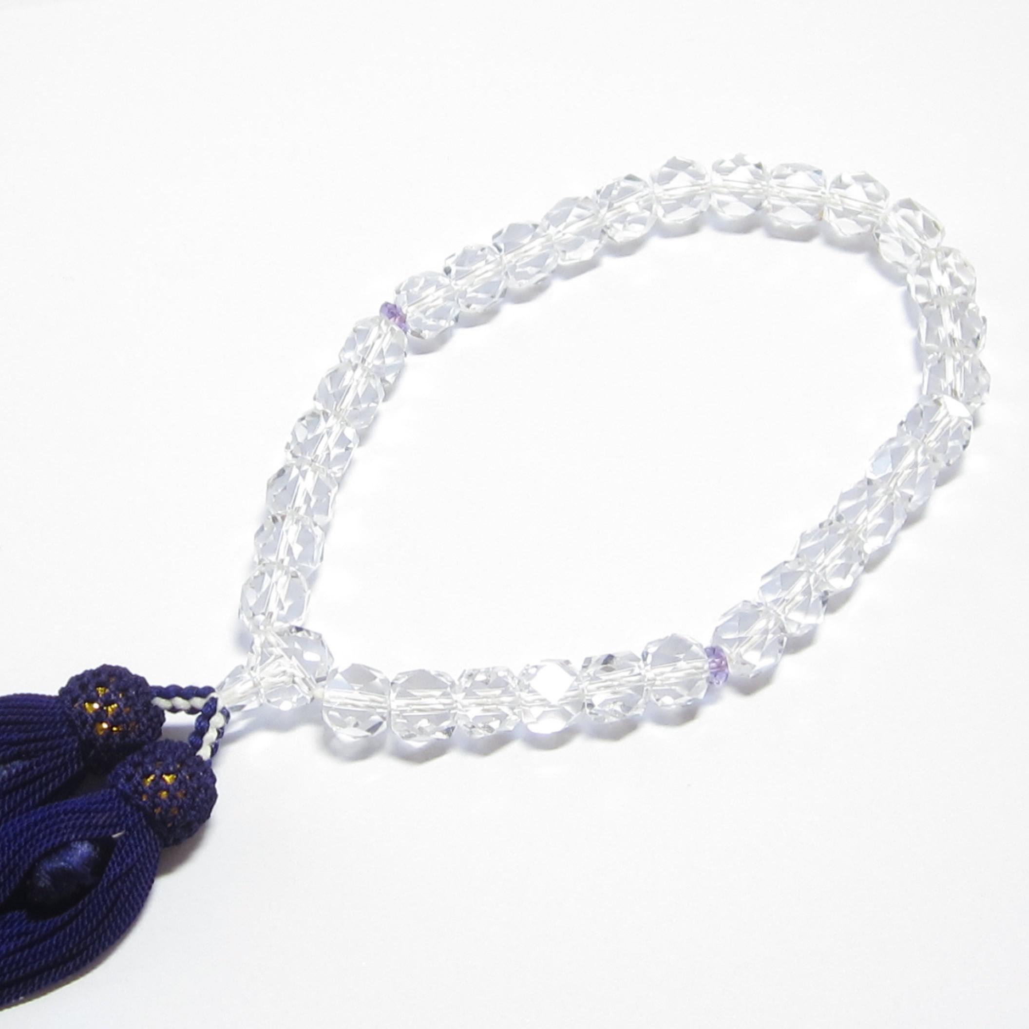 数珠 女性用のカット水晶数珠