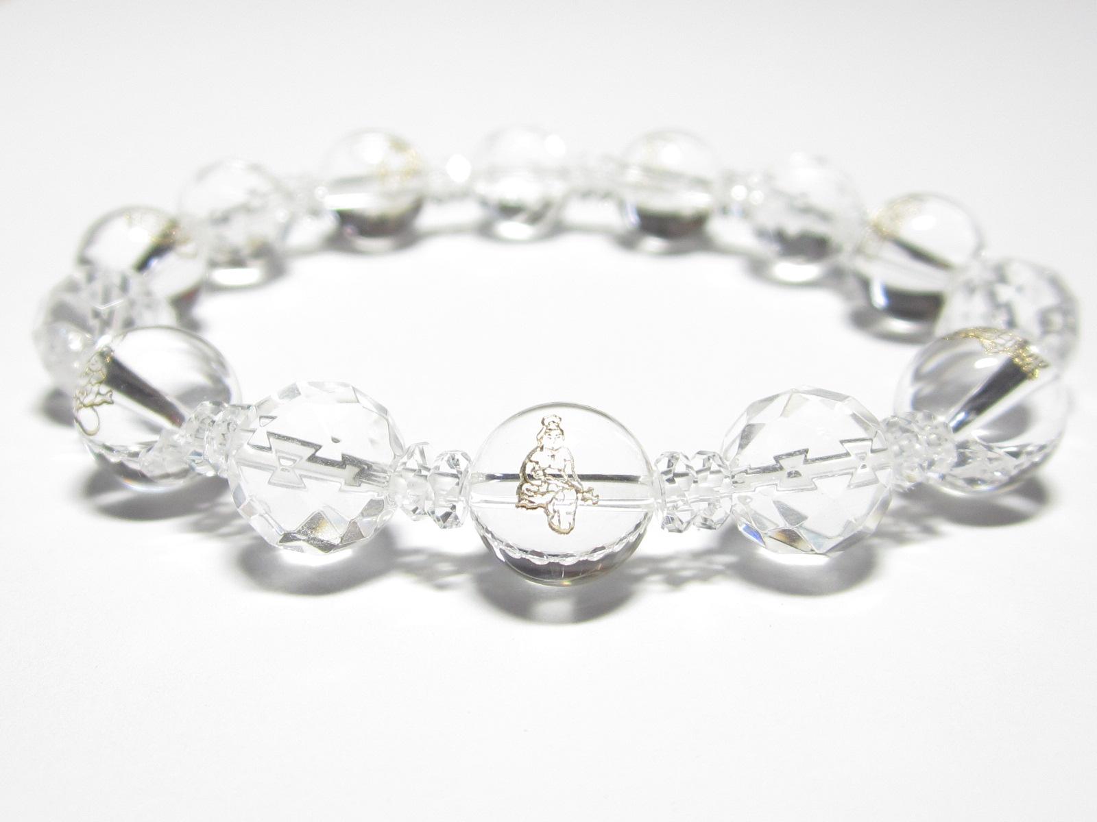 水晶だけの水晶カット七福神ブレスレット・水晶お守り女性用