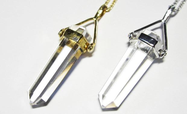 水晶ポイント ネックレス  ペンデュラムペンダント  チェーン付き