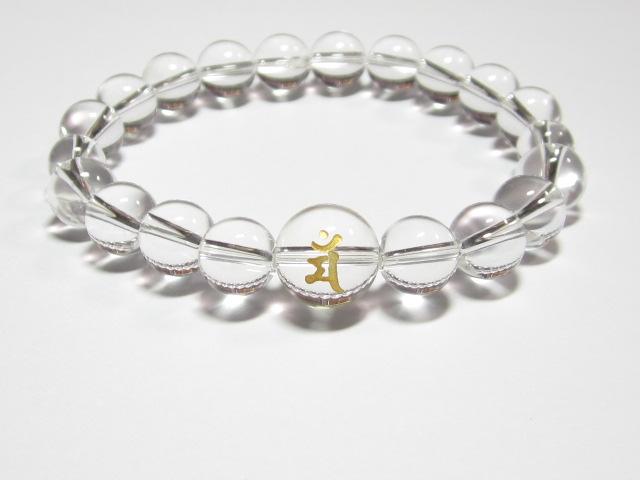 干支梵字「文殊菩薩 マン」水晶数珠ブレスレット