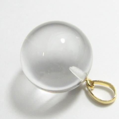 水晶 丸玉15mmペンダント チェーン付き