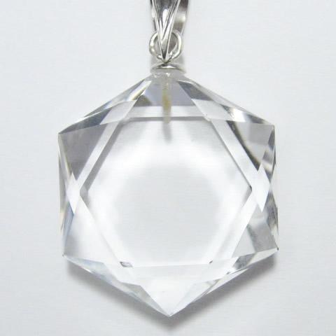 水晶 新六芒星ペンダントトップ シルバー金具