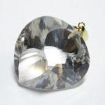 最高級 天然 水晶 ハートSカット大ペンダントトップ 金具18金