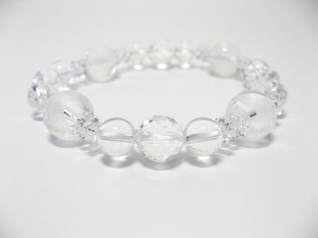 四神獣水晶カット白水晶ブレスレット