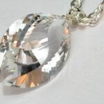 水晶 とがりSカット大ペンダントトップ シルバー金具